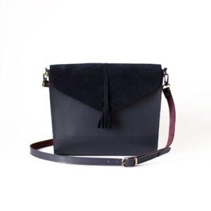 Комбинированная сумка Libra с кисточкой глубокий синий