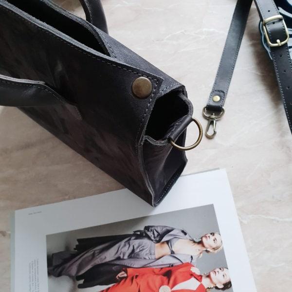 Сумка RamitaMini серая замша с кожаными вставками