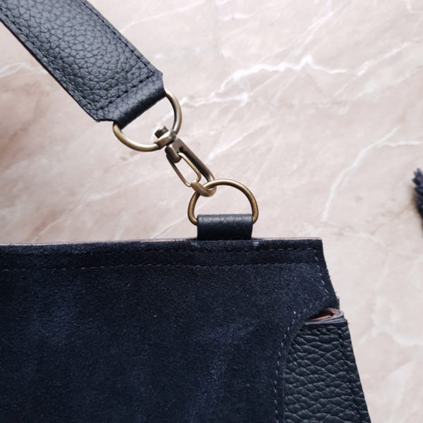 Сумка Mino комбинированная темно-синяя замша и кожа