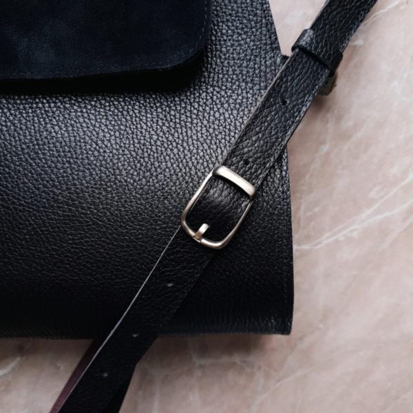 Сумка Mino комбинированная черная замша и кожа