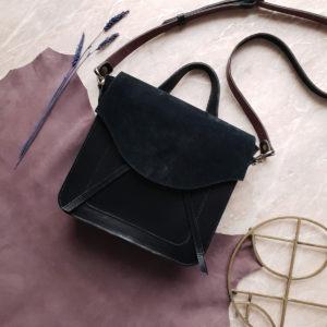 Lita комбинированная черная замша и гладкая кожа