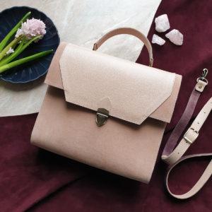 Сумка Liata комбинация персиково-розовой замши и бежево-розовой зернистой кожи