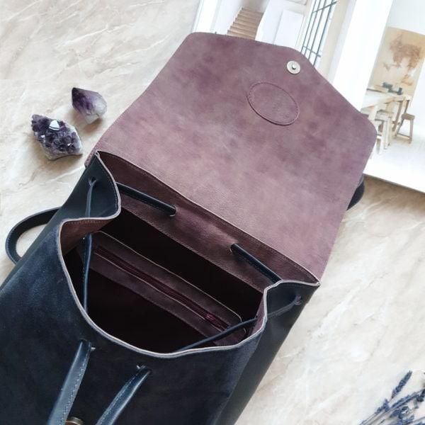 Рюкзак Gemini комбинированный темно-синяя замша и кожа