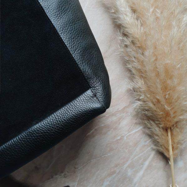 Черная сумка-шоппер Tetra на молнии замши и зернистая кожа