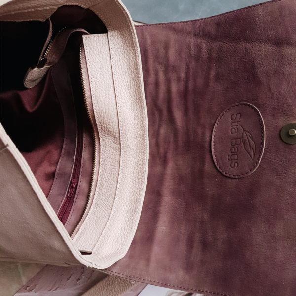 Geomi комби пудрово-розовая замша и кожа