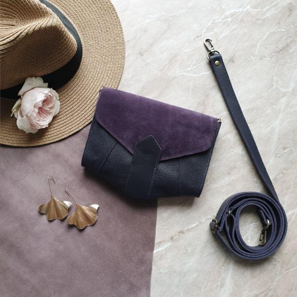 Поясная сумка Frela комби черничная замша и кожа