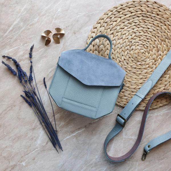 Сумка Diame комби голубая замша и жемчужно-голубая зернистая кожа