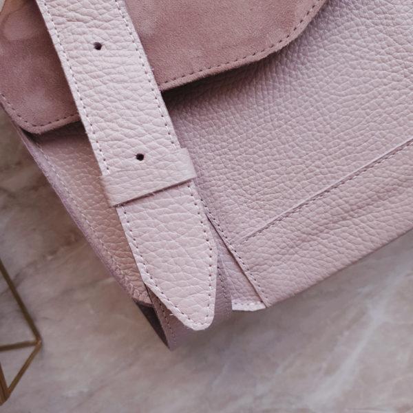 Сумка Diame комби лавандово-розовая замша и зернистая кожа