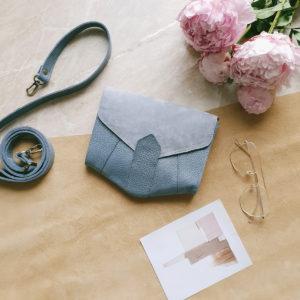 Поясная сумка Frela комби молочно-черничная замша и серо-голубой флотер