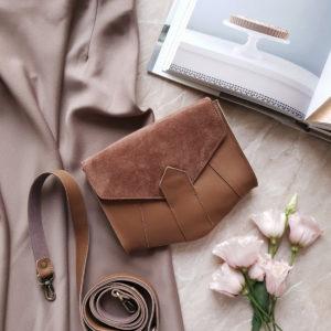 Поясная сумка Frela комби коричневая замша и кожа