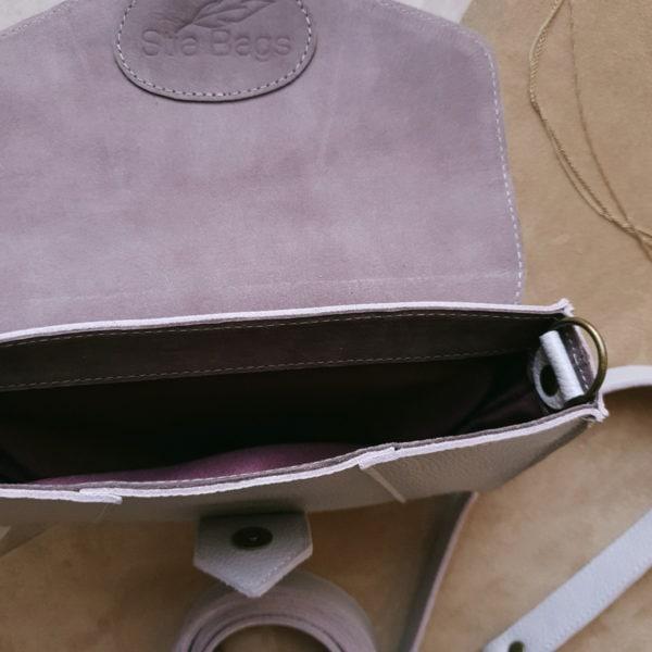 """Поясная сумка Frela комби замша """"пыльная сирень"""" и молочно-сиреневая кожа"""