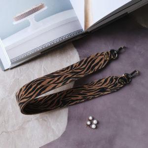 Съемный декоративный ремень 55 см черно-бежевая зебра