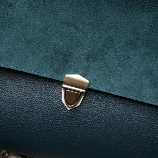 Сумка Mino изумрудная замша и сине-изумрудная фактурная кожа
