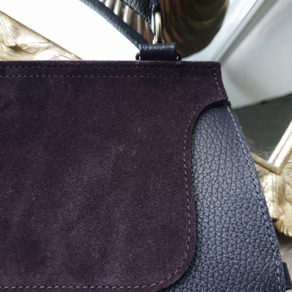 Сумка Mino комби черничная замша и фактурная кожа
