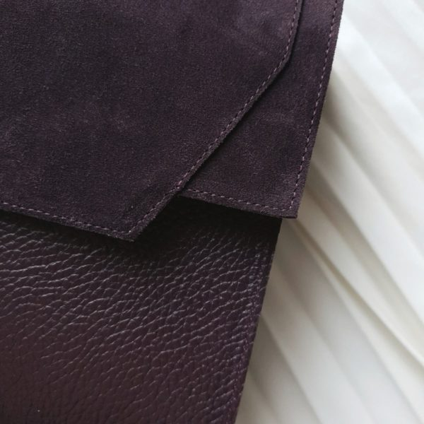 Сумка Liata комби кожа фактурная слива и черничная замша