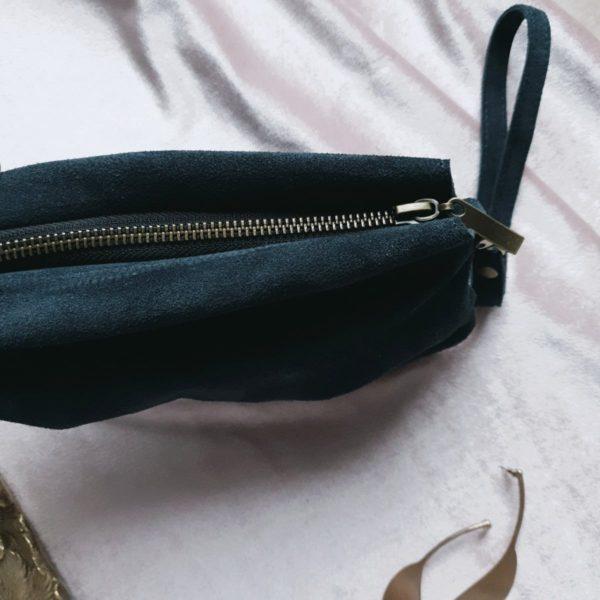 Клатч PatiLight в синей замше с ремнем на запястье