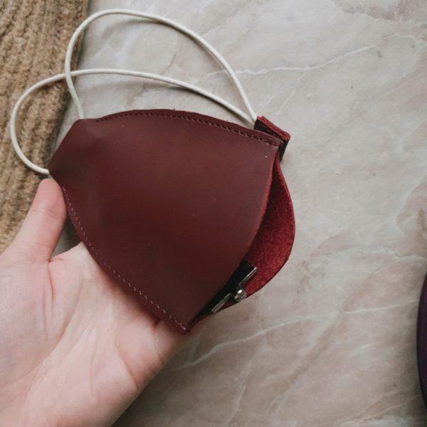 Ключница Deco в гладкой красно-бордовой коже без подкладки