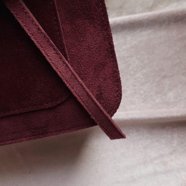 Lita замша теплый марсала (спинка и ремень из кожи)
