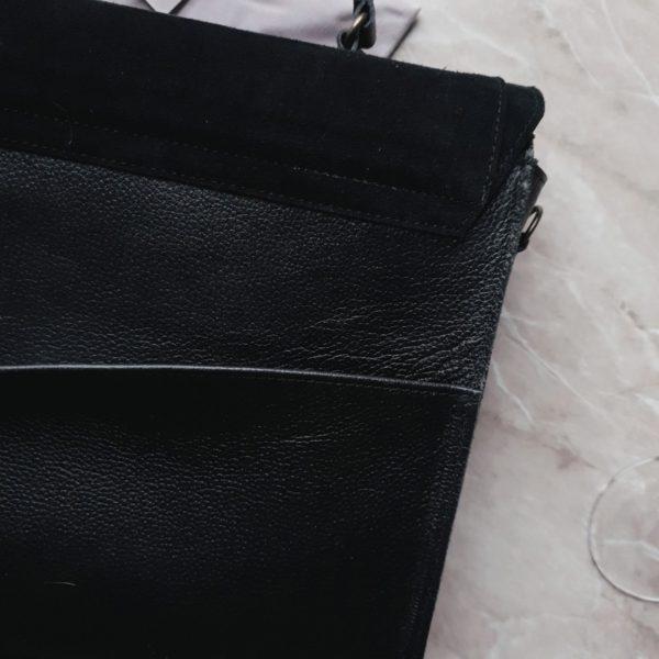 Сумка Liata комби черная замша и зернистая кожа
