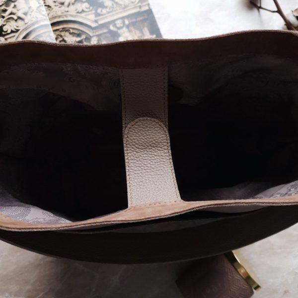 Шоппер TetraLight зернистая кремовая кожа
