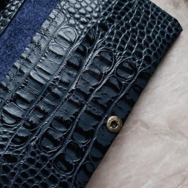Кошелек Auri серо-синяя кожа под крокодила