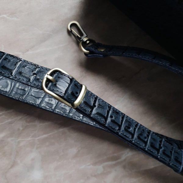 Сумка Ramita серо-синяя кожа под крокодила
