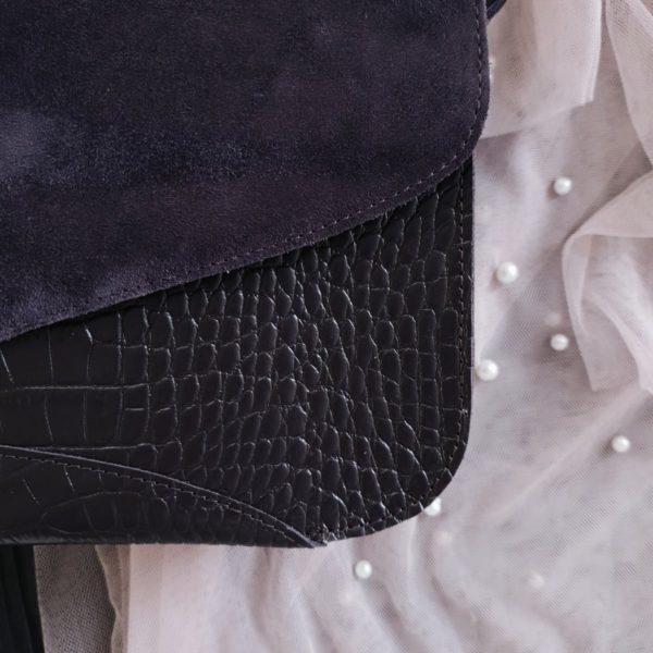 Сумка Delany комби черничная замша и кожа под рептилию слива