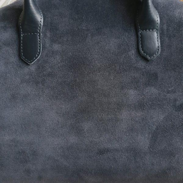 RamitaMini на молнии холодная серая замша с кожаными ручками и ремнем