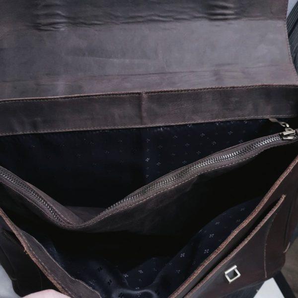 Мужской портфель Frestin черная зернистая кожа