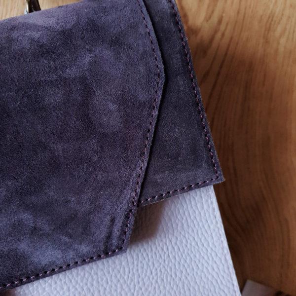 Сумка Liata комби замша пыльный фиолет и кожа молочный фиолет