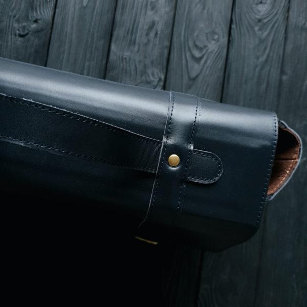 Мужской портфель Frestin гладкая темно-синяя кожа