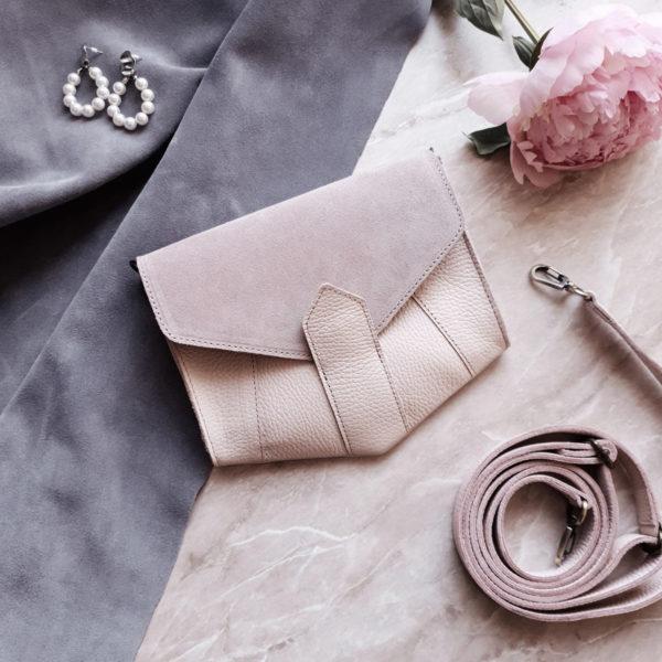 Поясная сумка Frela комби пудрово-розовая замша и кожа