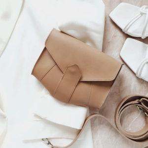 Поясная сумка Frela гладкая бежевая кожа