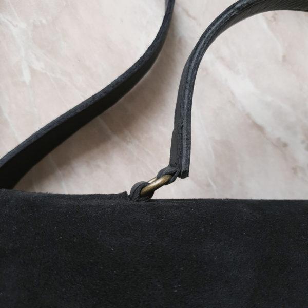 Сумка Liata комби черная гладкая кожа и замша