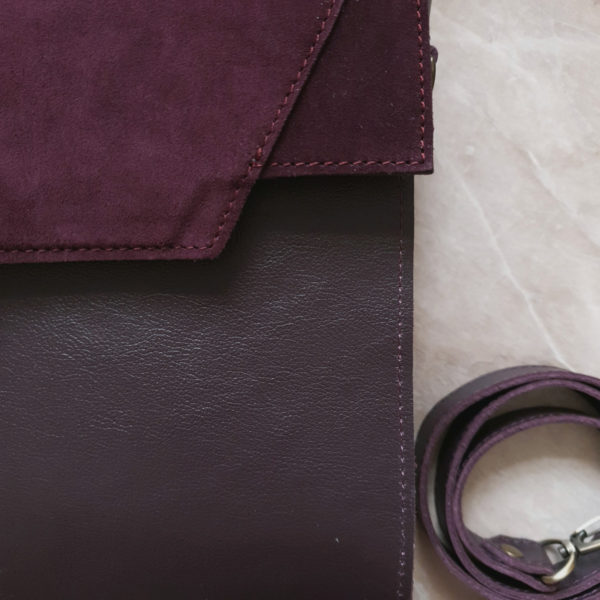 Сумка Liata комби гладкая кожа слива и замша марсала фиолет