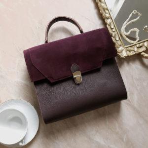 Сумка Liata комби зернистая матовая кожа марсала и замша марсала фиолет