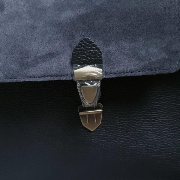 Сумка Liata комби приглушенная синяя замша и зернистая кожа