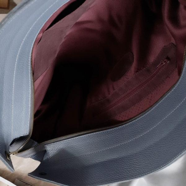 Сумка Ramita серо-голубая зернистая кожа