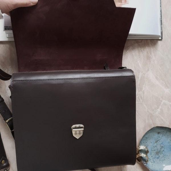 Сумка Liata комби гладкая кожа и замша горький шоколад