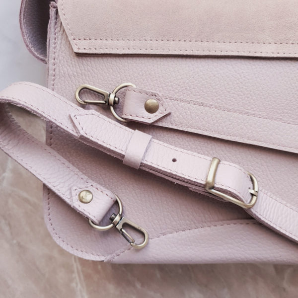 Сумка Delany комби зернистая лавандовая светлая кожа и пудрово-розовая замша