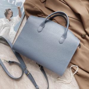 RamitaMini на молнии серо-голубая зернистая кожа