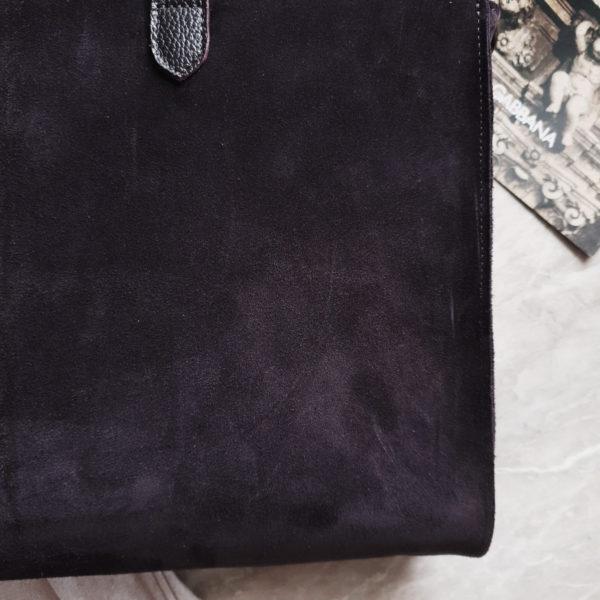 Сумка Ramita черничная замша с кожаными ручками