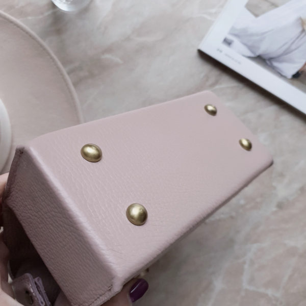Саквояж SelinMini лавандово-розовая замша и зернистая кожа