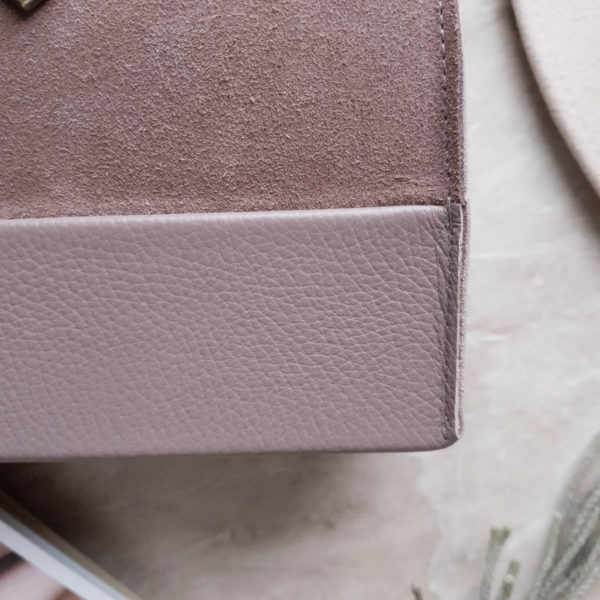 Саквояж SelinMini лавандово-розовая замша и зернистая кожа темная лаванда