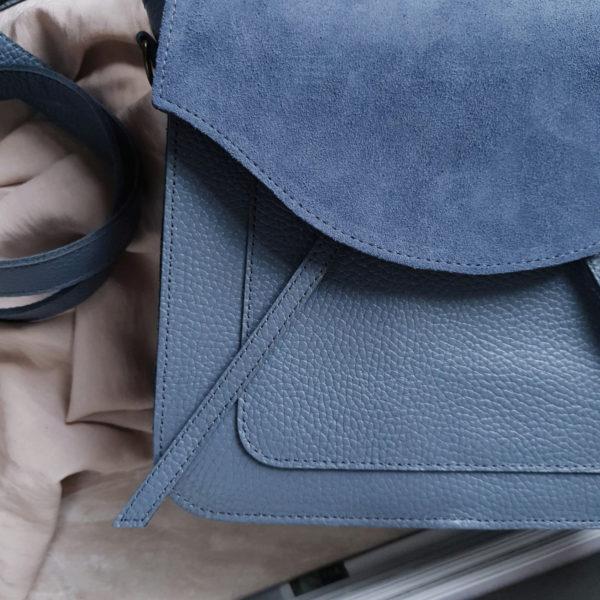 Lita комби чернично-молочная замша и серо-голубая зернистая кожа