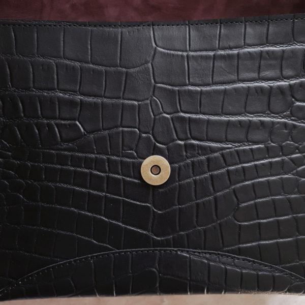 Сумка Delany комби черная рептилия кожа и замша