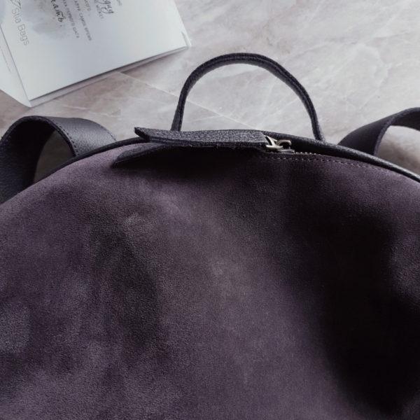 Niomi комби замша пыльный фиолет и зернистая кожа черника