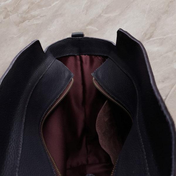 Сумка-шоппер Tetra на молнии черничная замша и зернистая кожа