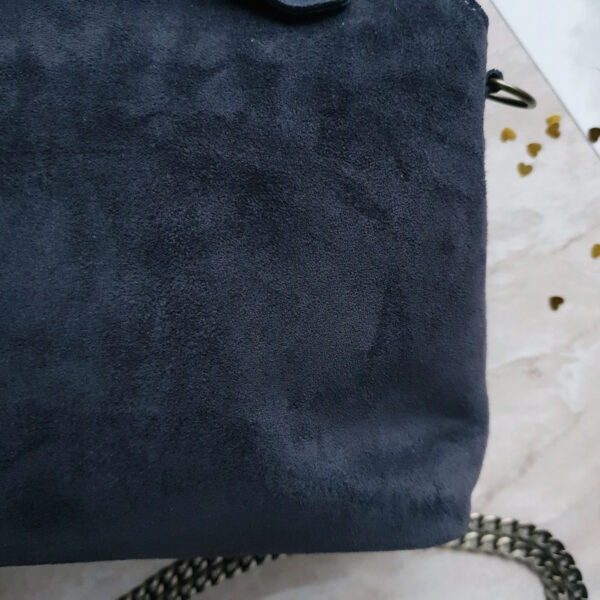 Сумка Navi с воланами приглушенная синяя замша