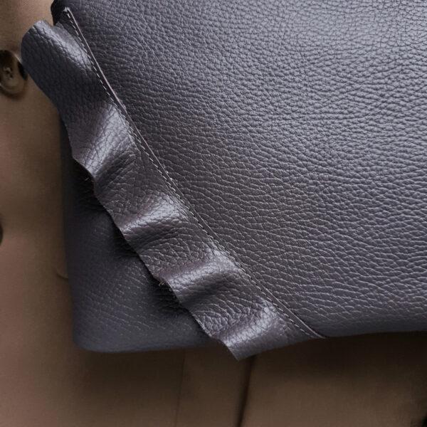 Сумка NaviGrand с воланами зернистая кожа пыльный фиолет